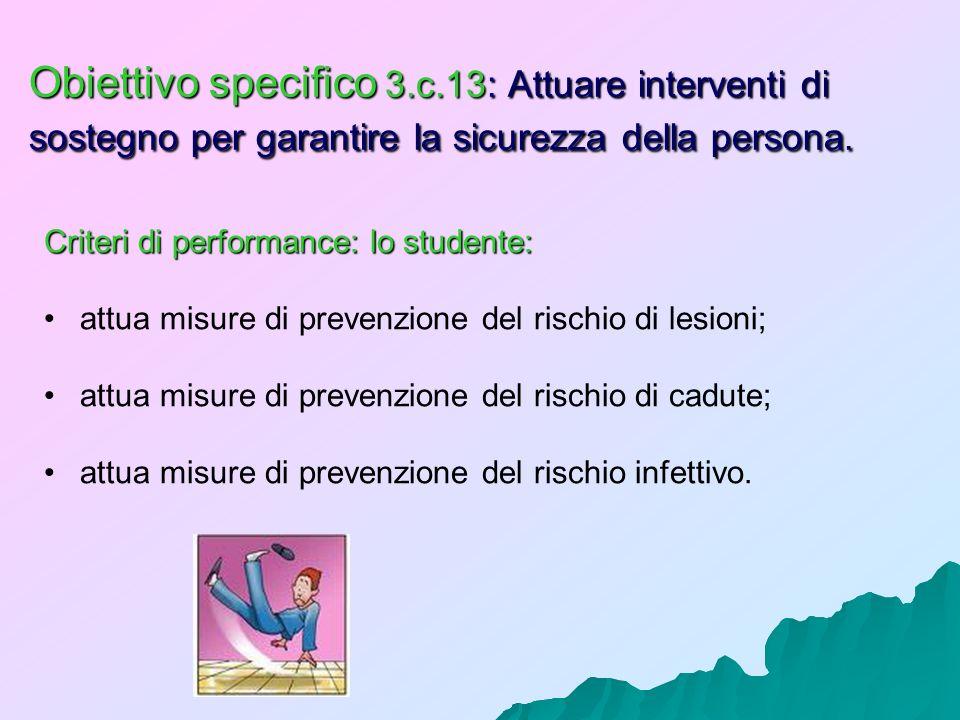 Obiettivo specifico 3.c.13: Attuare interventi di sostegno per garantire la sicurezza della persona.