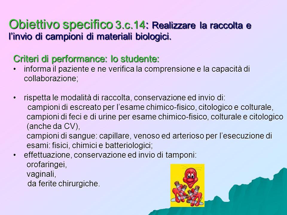 Obiettivo specifico 3.c.14: Realizzare la raccolta e l'invio di campioni di materiali biologici.