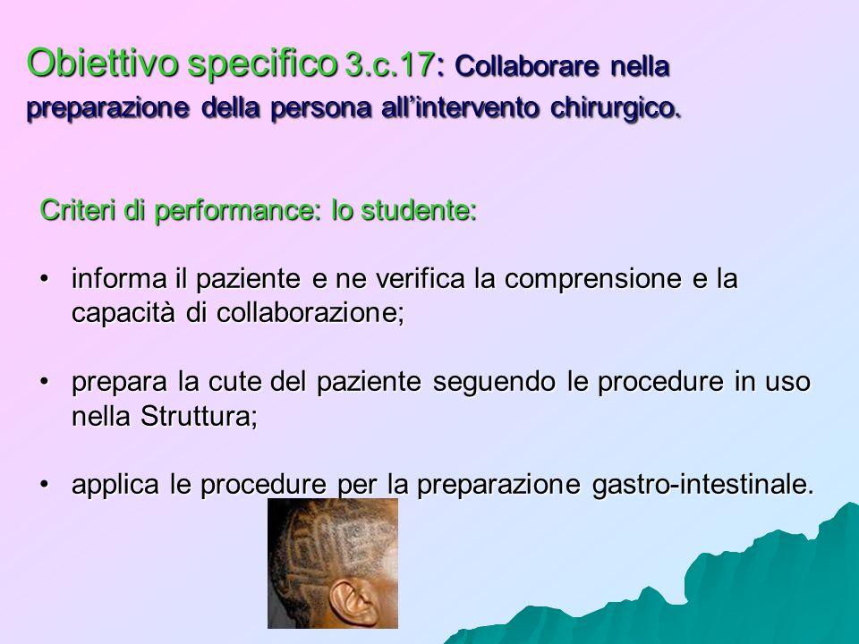 Obiettivo specifico 3.c.17: Collaborare nella preparazione della persona all'intervento chirurgico.