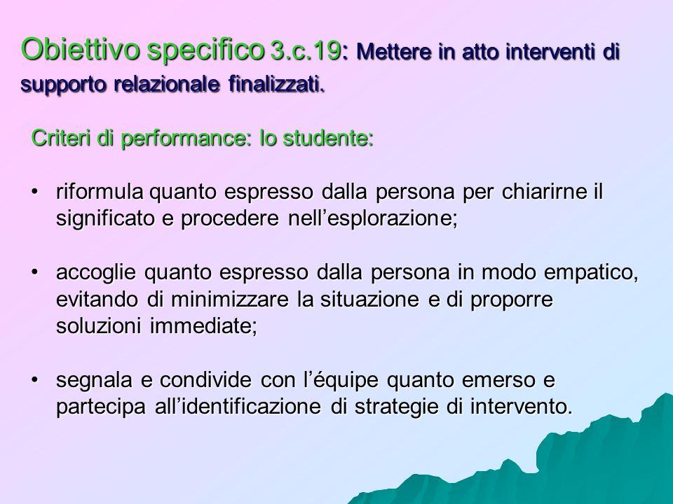 Obiettivo specifico 3.c.19: Mettere in atto interventi di supporto relazionale finalizzati.