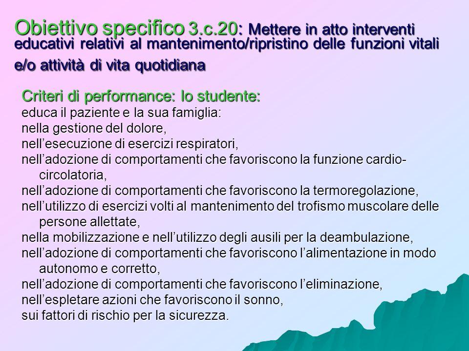 Obiettivo specifico 3.c.20: Mettere in atto interventi educativi relativi al mantenimento/ripristino delle funzioni vitali e/o attività di vita quotidiana