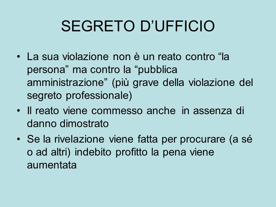 SEGRETO D'UFFICIO