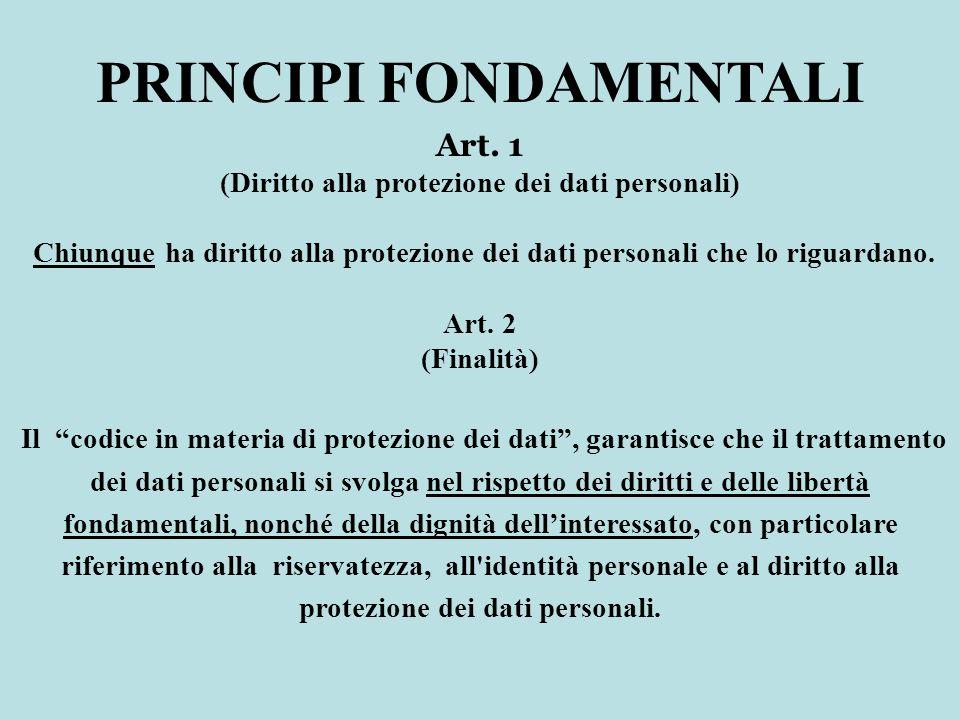 PRINCIPI FONDAMENTALI (Diritto alla protezione dei dati personali)