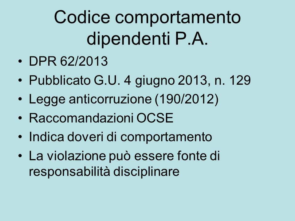 Codice comportamento dipendenti P.A.