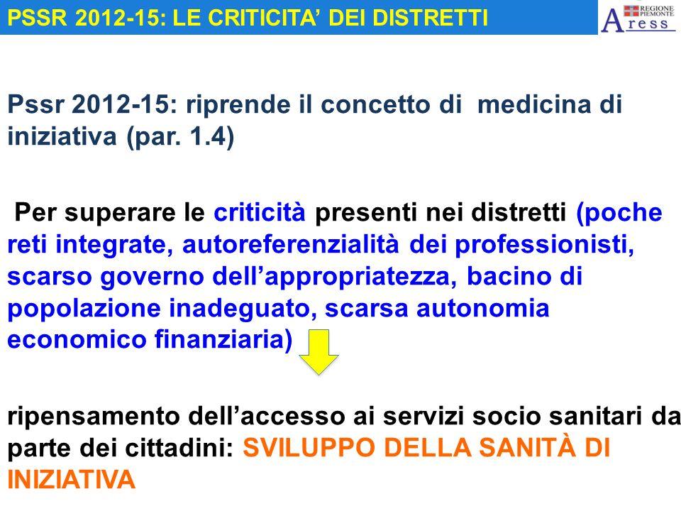 Pssr 2012-15: riprende il concetto di medicina di iniziativa (par. 1