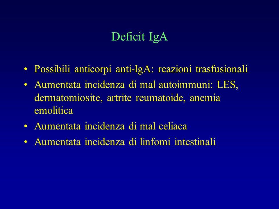 Deficit IgA Possibili anticorpi anti-IgA: reazioni trasfusionali