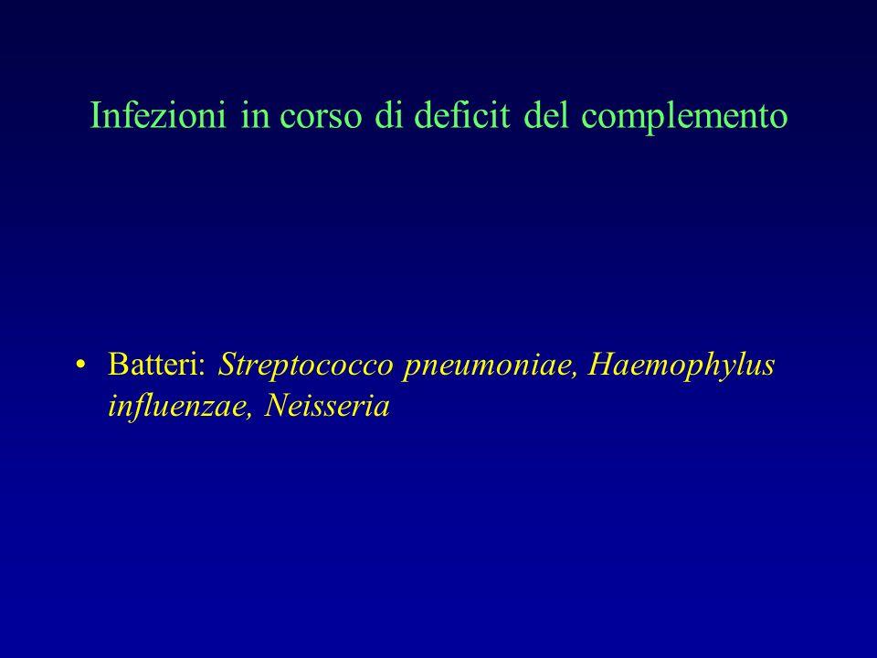 Infezioni in corso di deficit del complemento