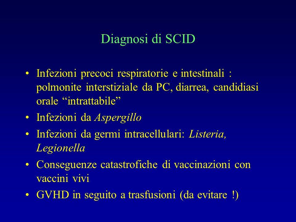 Diagnosi di SCID Infezioni precoci respiratorie e intestinali : polmonite interstiziale da PC, diarrea, candidiasi orale intrattabile