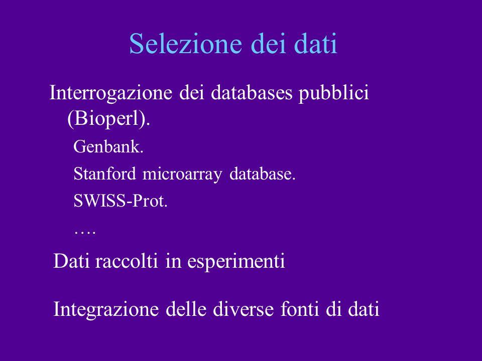 Selezione dei dati Interrogazione dei databases pubblici (Bioperl).