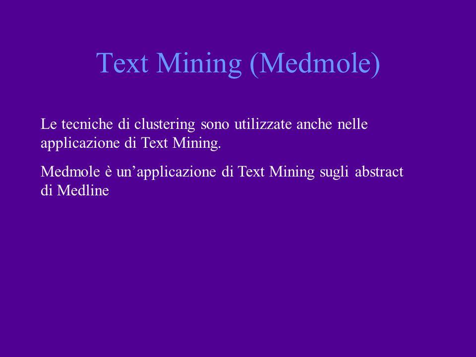 Text Mining (Medmole) Le tecniche di clustering sono utilizzate anche nelle applicazione di Text Mining.