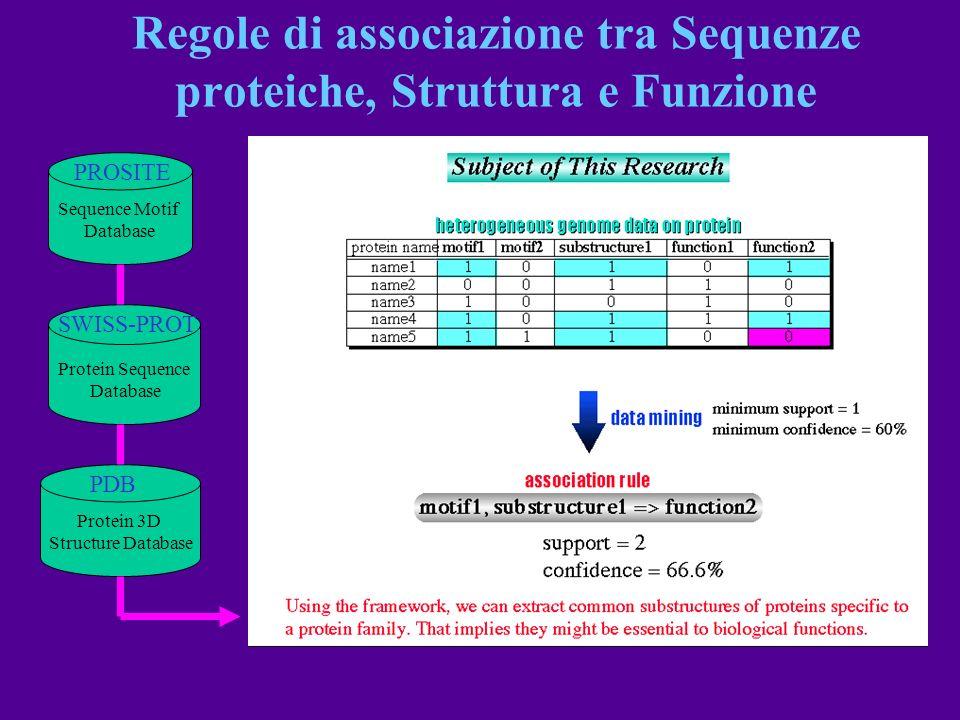 Regole di associazione tra Sequenze proteiche, Struttura e Funzione
