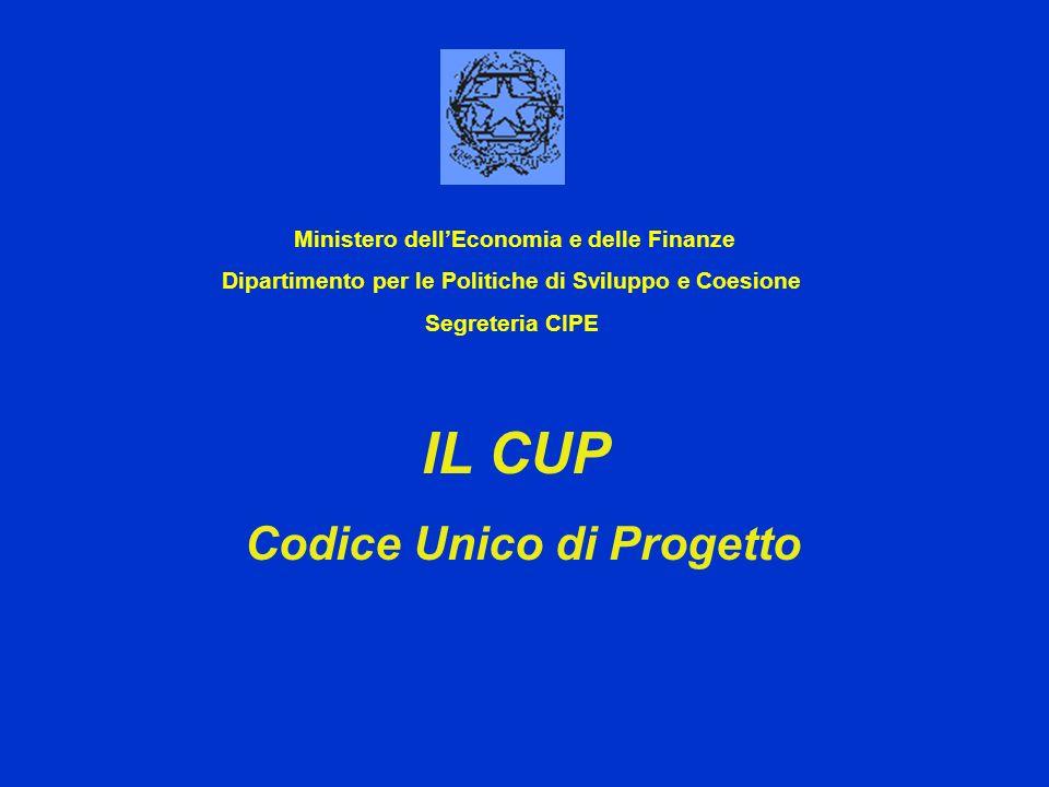 IL CUP Codice Unico di Progetto