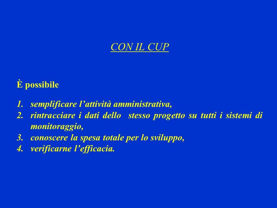 CON IL CUP È possibile semplificare l'attività amministrativa,
