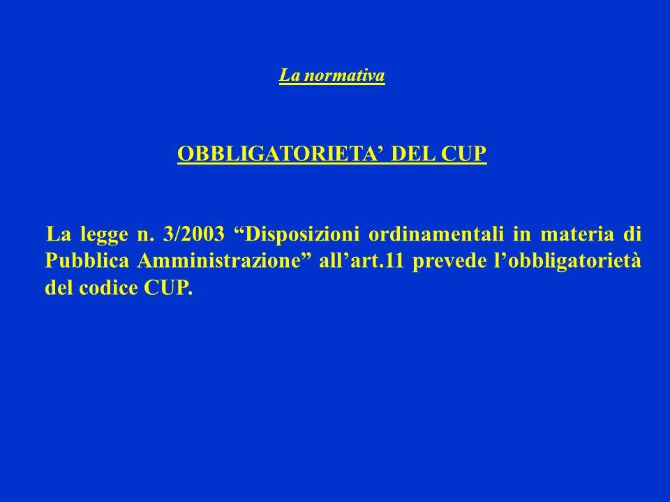OBBLIGATORIETA' DEL CUP