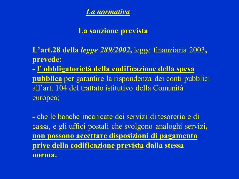 La normativa La sanzione prevista L'art