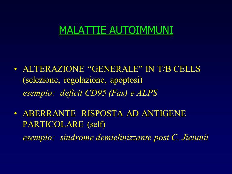 MALATTIE AUTOIMMUNI ALTERAZIONE GENERALE IN T/B CELLS (selezione, regolazione, apoptosi) esempio: deficit CD95 (Fas) e ALPS.