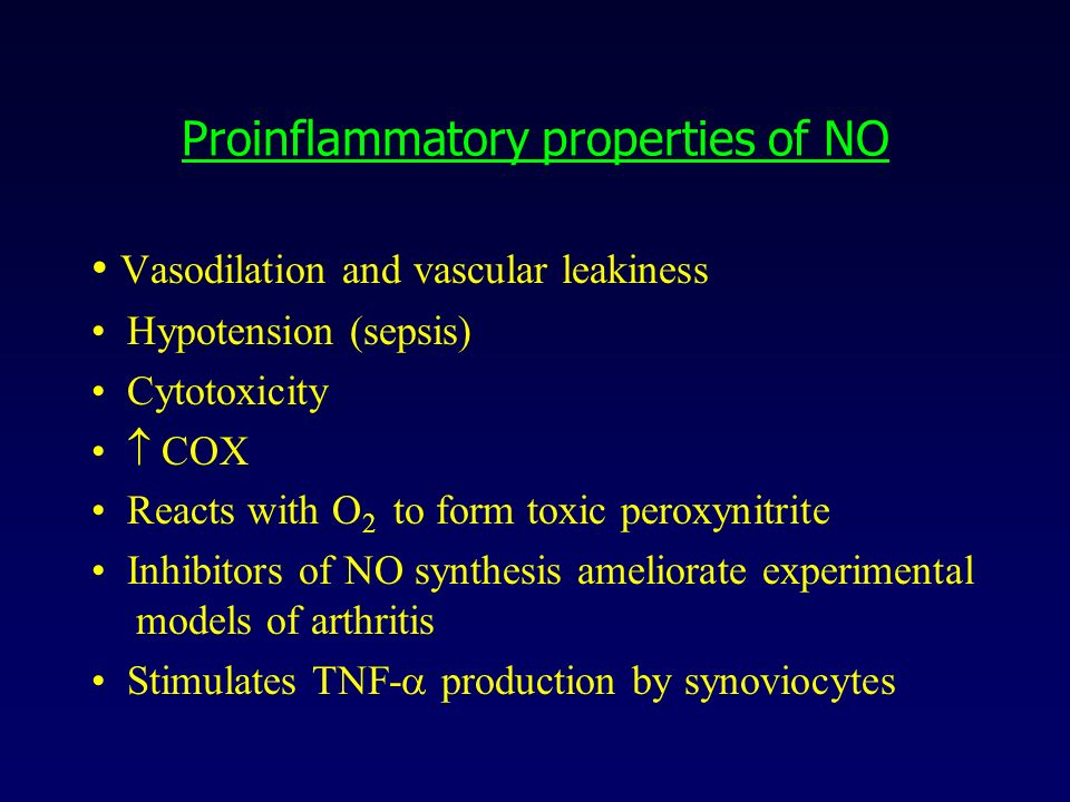 Proinflammatory properties of NO