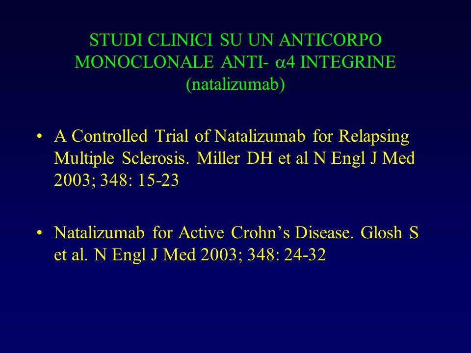 STUDI CLINICI SU UN ANTICORPO MONOCLONALE ANTI- 4 INTEGRINE (natalizumab)