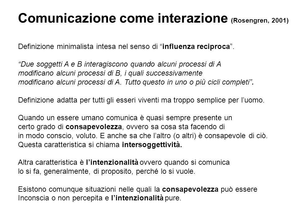 Comunicazione come interazione (Rosengren, 2001)