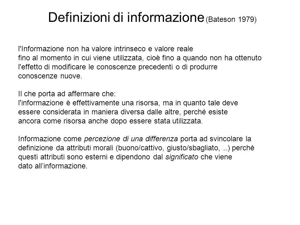 Definizioni di informazione (Bateson 1979)