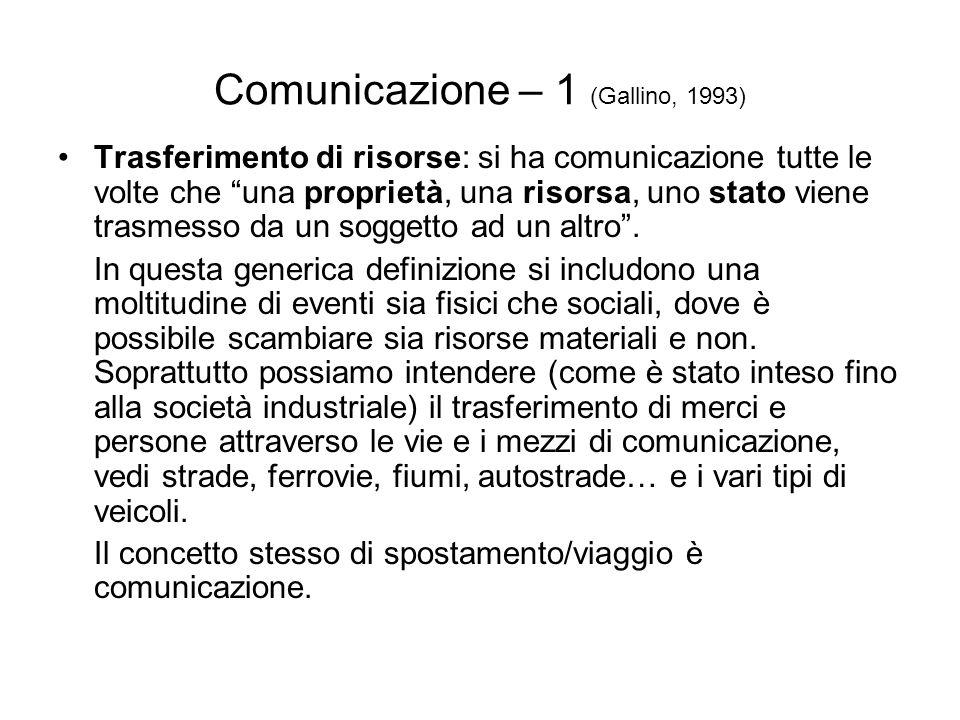 Comunicazione – 1 (Gallino, 1993)