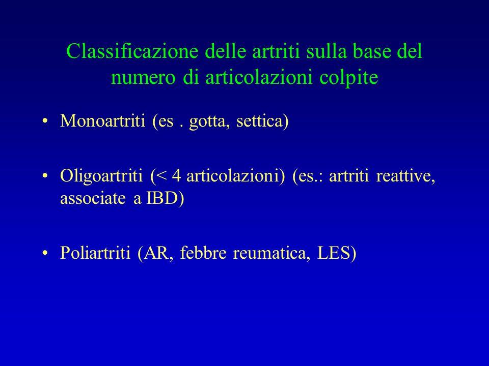 Classificazione delle artriti sulla base del numero di articolazioni colpite