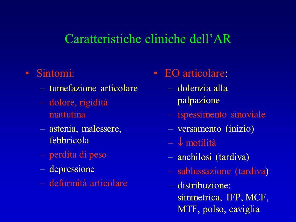 Caratteristiche cliniche dell'AR