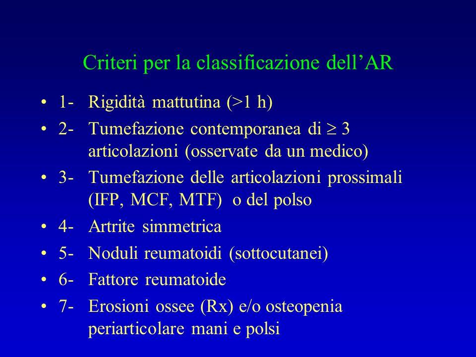 Criteri per la classificazione dell'AR