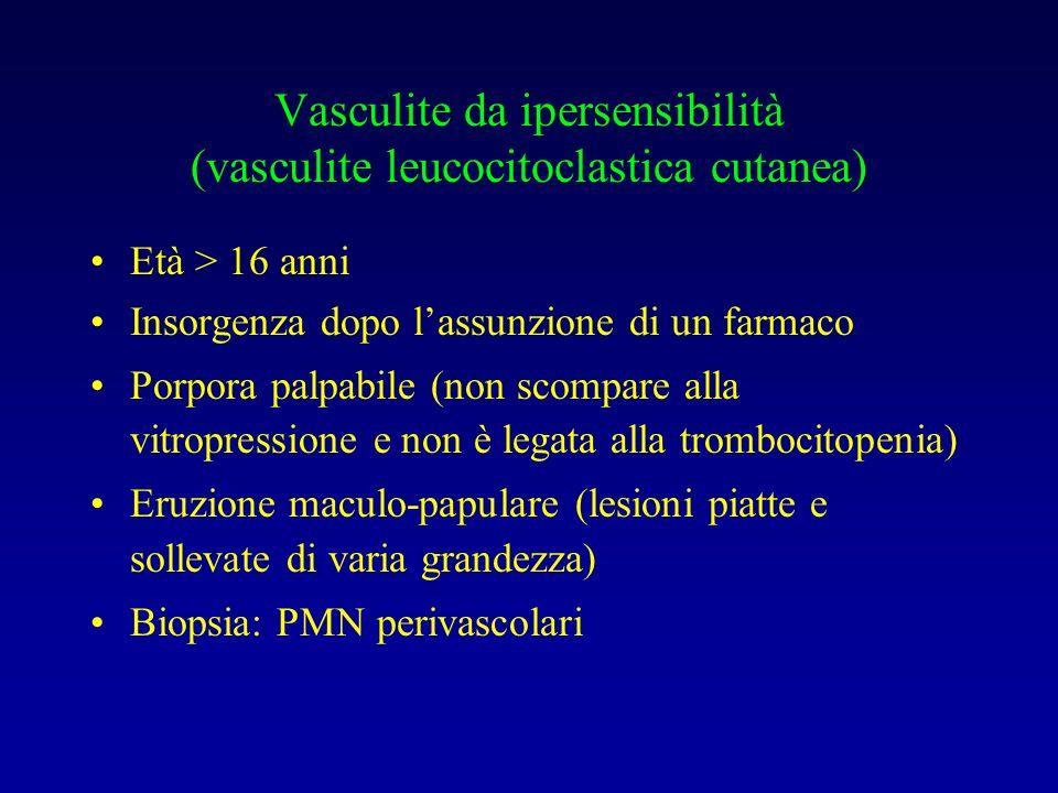 Vasculite da ipersensibilità (vasculite leucocitoclastica cutanea)