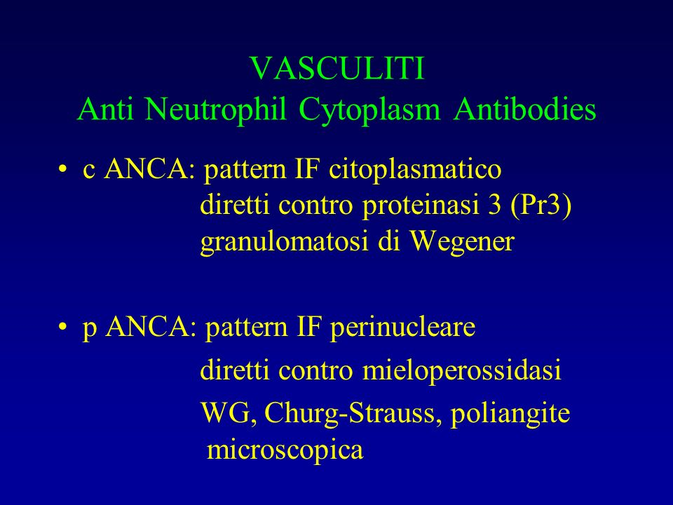 VASCULITI Anti Neutrophil Cytoplasm Antibodies