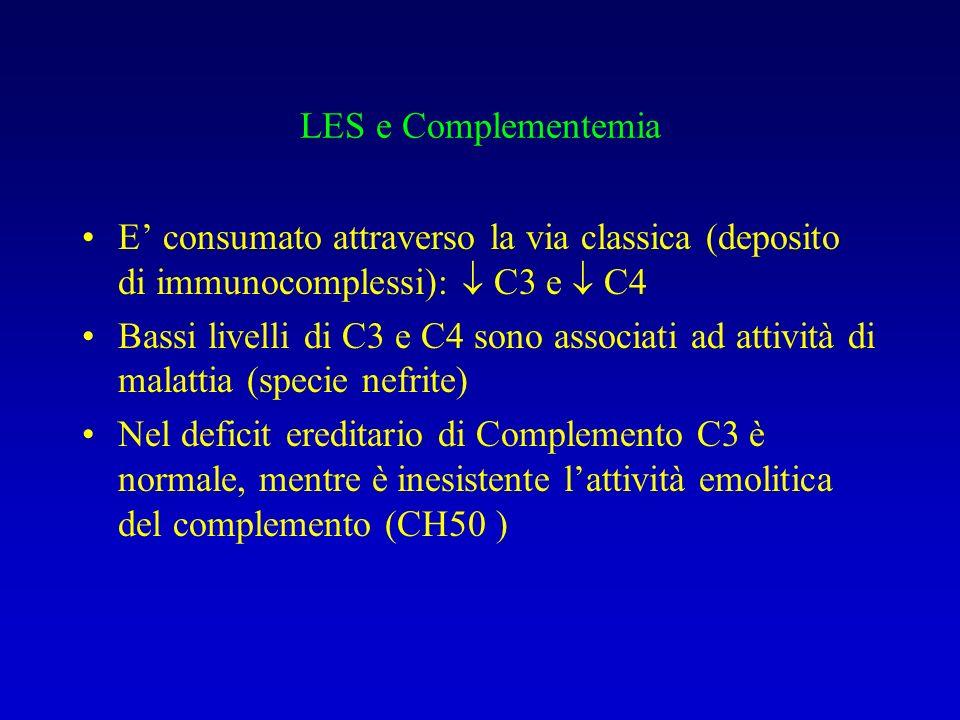 LES e Complementemia E' consumato attraverso la via classica (deposito di immunocomplessi):  C3 e  C4.