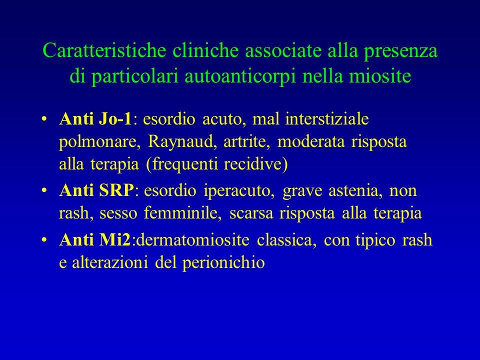Caratteristiche cliniche associate alla presenza di particolari autoanticorpi nella miosite