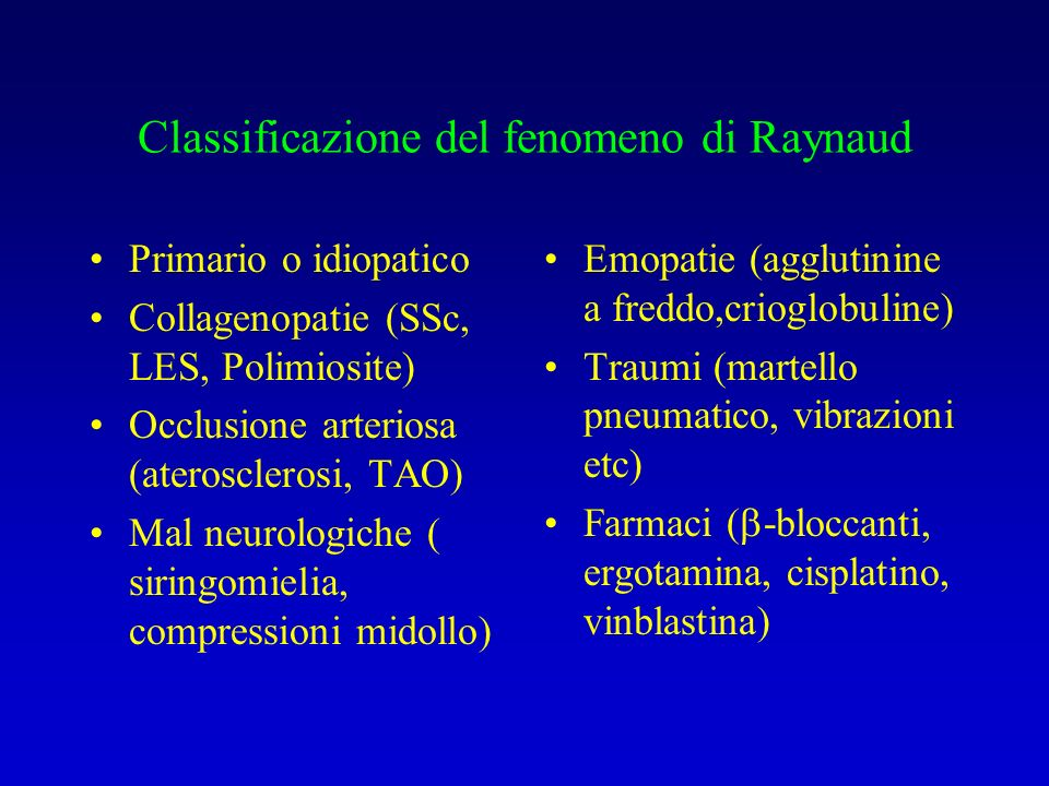 Classificazione del fenomeno di Raynaud