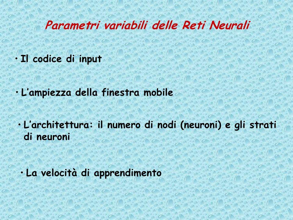Parametri variabili delle Reti Neurali