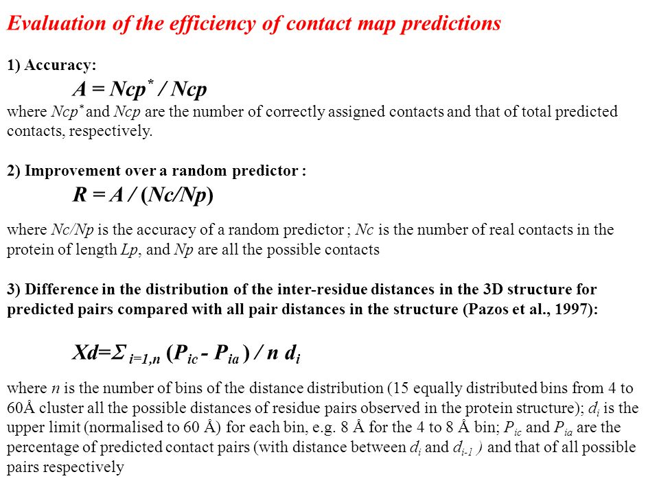 Evaluation of the efficiency of contact map predictions