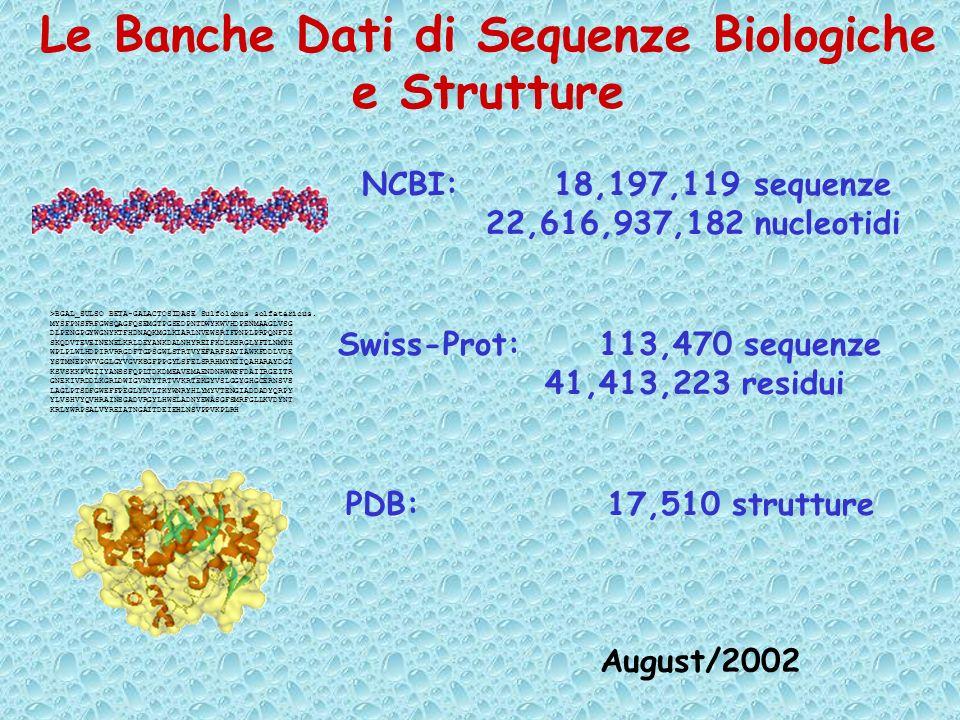 Le Banche Dati di Sequenze Biologiche e Strutture