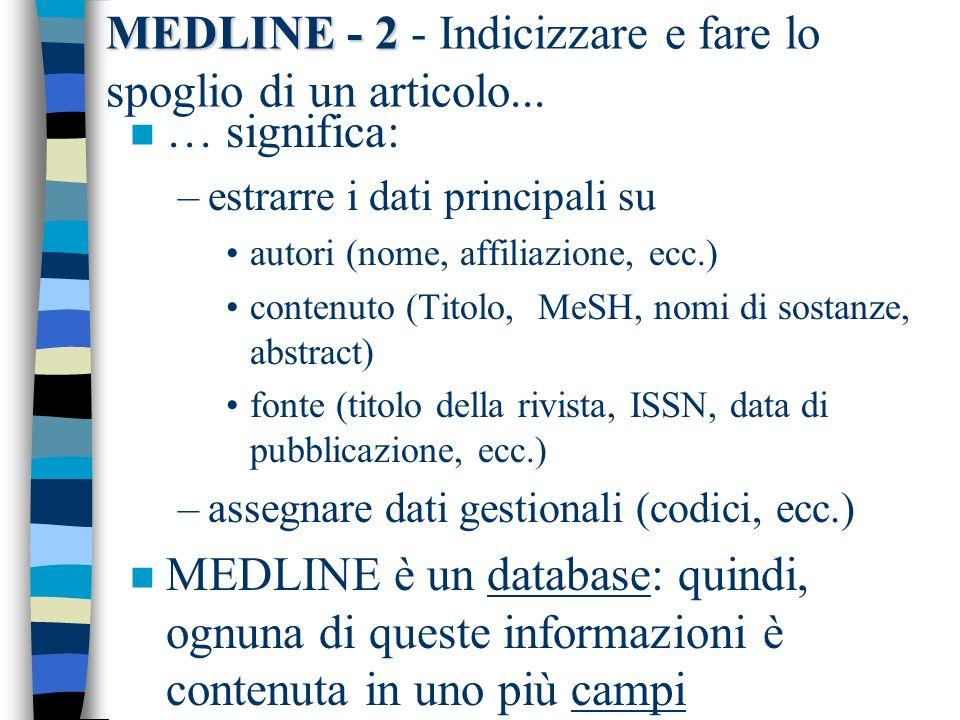 MEDLINE - 2 - Indicizzare e fare lo spoglio di un articolo...