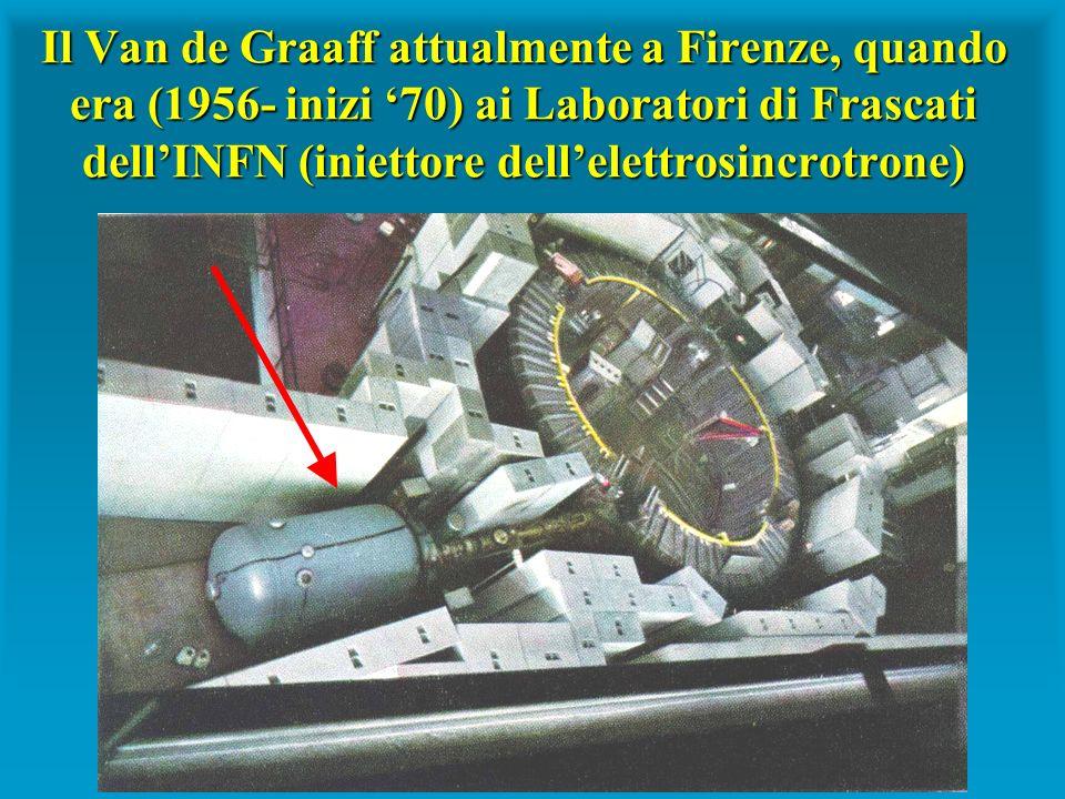 Il Van de Graaff attualmente a Firenze, quando era (1956- inizi '70) ai Laboratori di Frascati dell'INFN (iniettore dell'elettrosincrotrone)