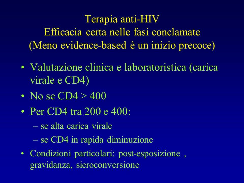 Valutazione clinica e laboratoristica (carica virale e CD4)