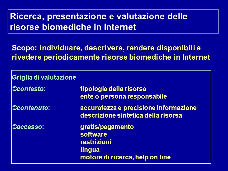 Ricerca, presentazione e valutazione delle risorse biomediche in Internet