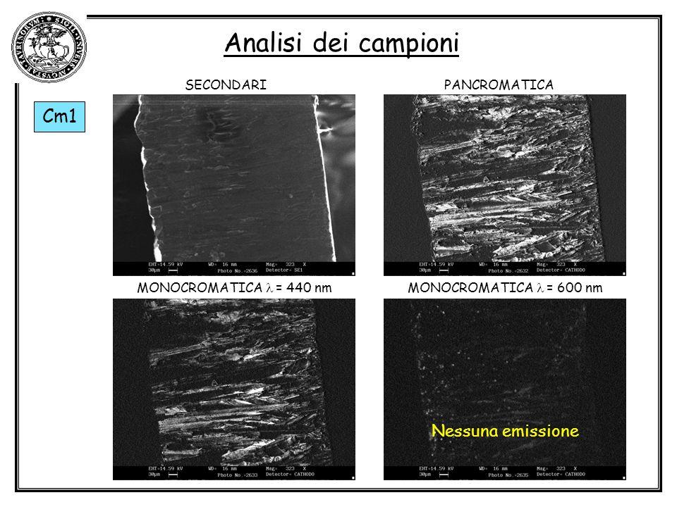Analisi dei campioni Cm1 Nessuna emissione SECONDARI PANCROMATICA