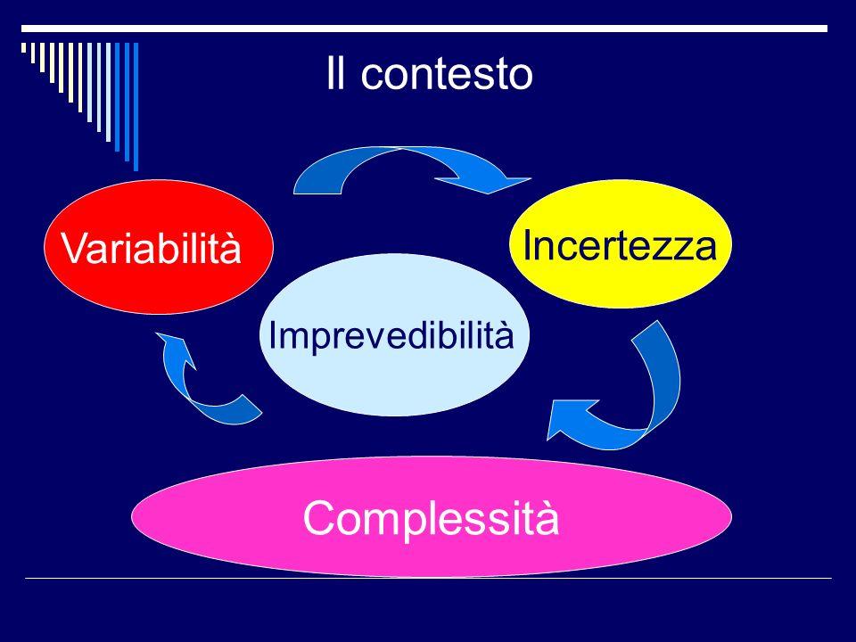 Il contesto Variabilità Incertezza Imprevedibilità Complessità