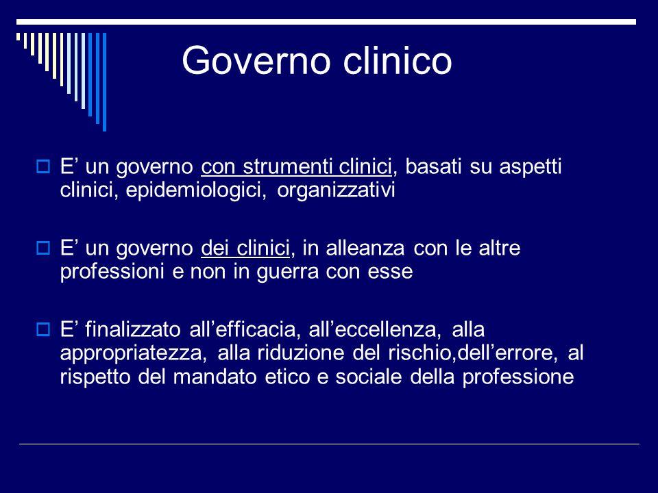 Governo clinico E' un governo con strumenti clinici, basati su aspetti clinici, epidemiologici, organizzativi.