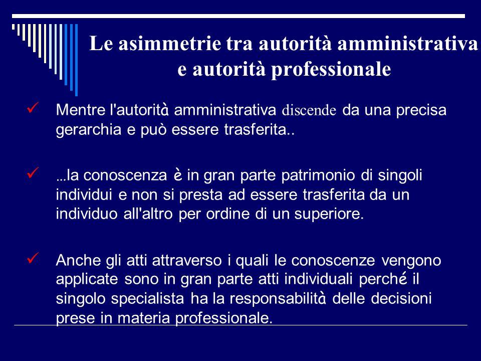 Le asimmetrie tra autorità amministrativa e autorità professionale