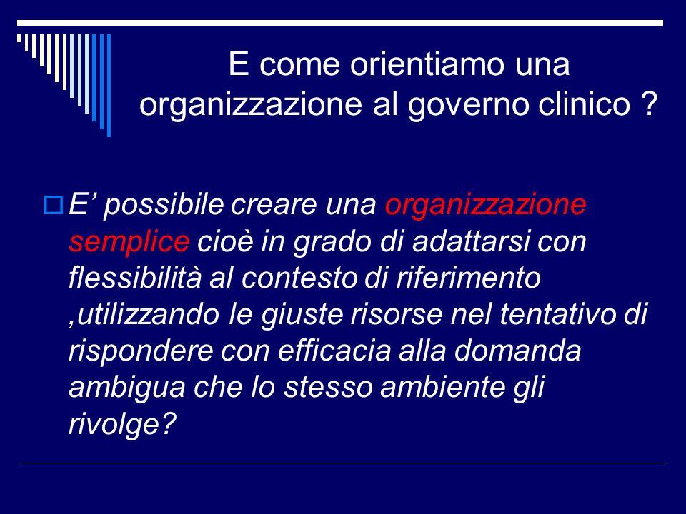 E come orientiamo una organizzazione al governo clinico