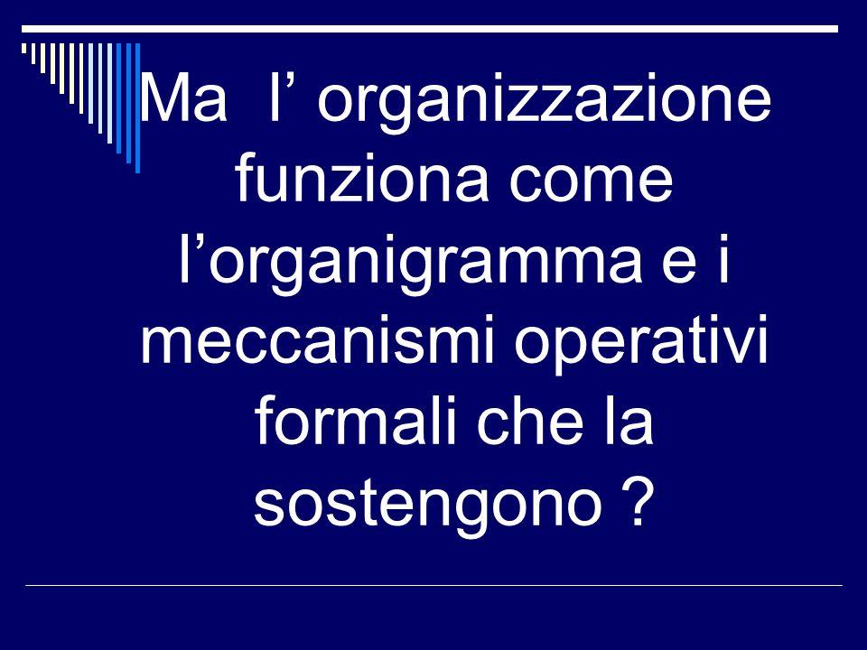 Ma l' organizzazione funziona come l'organigramma e i meccanismi operativi formali che la sostengono