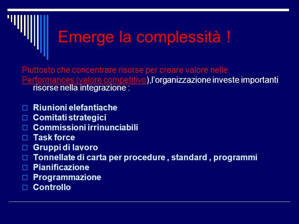 Emerge la complessità ! Piuttosto che concentrare risorse per creare valore nelle.