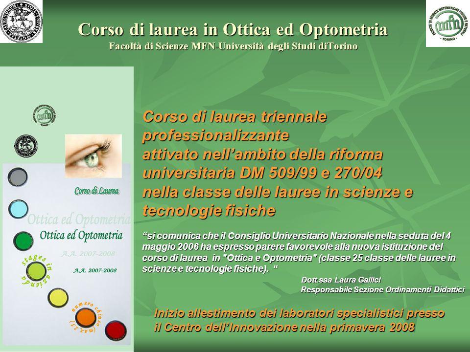 Corso di laurea in Ottica ed Optometria