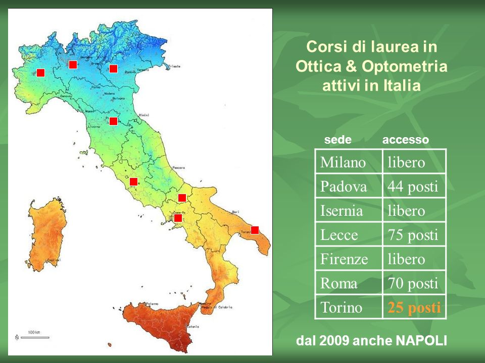Corsi di laurea in Ottica & Optometria attivi in Italia