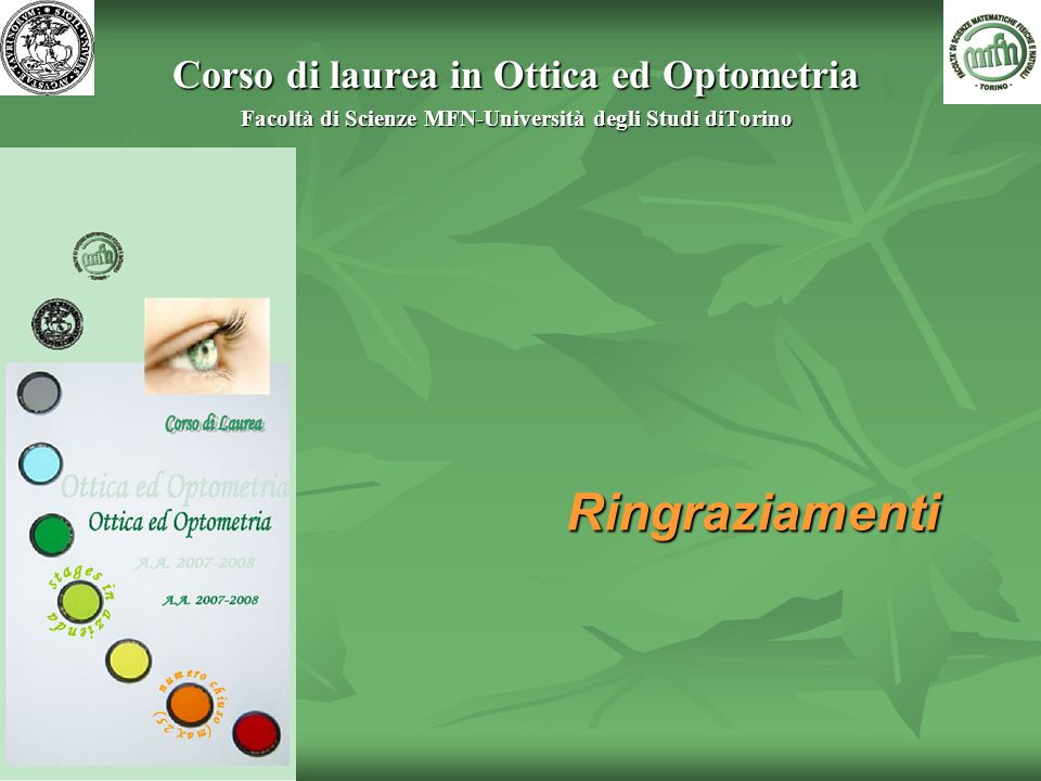 Ringraziamenti Corso di laurea in Ottica ed Optometria